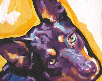 Australian Kelpie  Dog art print of modern Dog Painting art bright colors 8x8 inch
