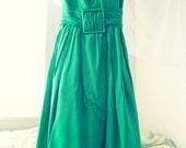 Vintage 1960's Mod Green Romantic Sleeveless Day Summer Dress