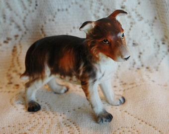 Vintage Porcelain Mixed Brown Puppy Shepherd Collie Unsure Numbered