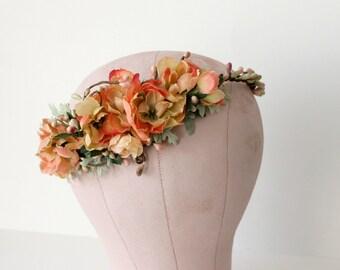 Citrus Roses Floral Crown. bridal flower crown, Boho bridal crown. Woodland. Rustic. Autumn Flower Crown, fall, Flower Crown, Bridal
