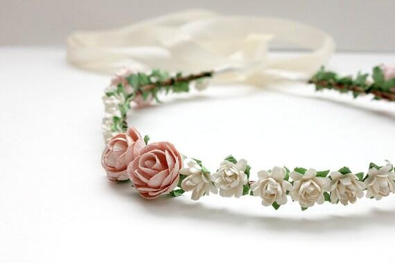 Bridal Floral Halo, Wedding, Flower Crown, Pink and Creamy White, Spring, wedding headband, Flower Girl, Bridal, hair Accessories - EMMA