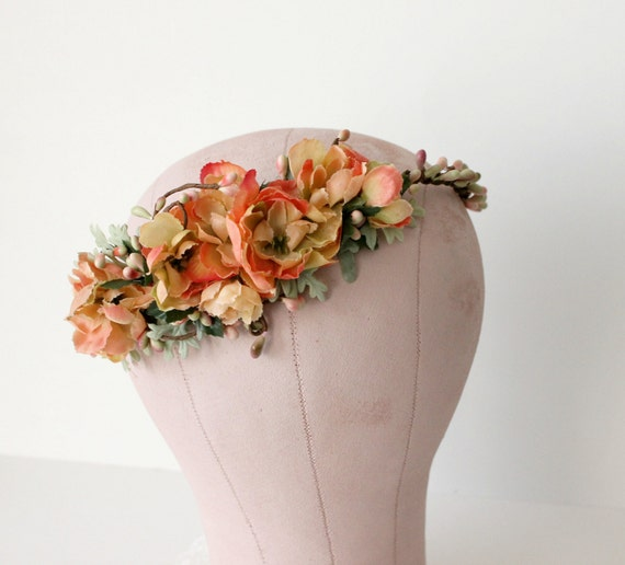 Citrus Roses Floral Crown. bridal flower crown, Boho bridal crown. Woodland. Rustic. Autumn Flower Crown, fall, Flower Crown, Bridal