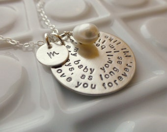 I'll love you forever - - Hand Stamped Mommy Jewelry - - Sterling Silver