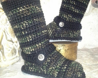 "Cute ""Camo"" Tweedy Stripes Crochet Sweater Boots size Small(5-6.5) ""4in1"" style: Ankle Boots, Slouchy Cuffed"