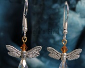 Wing Earrings - Angel or Dragonfly Crystal Pewter and Glinter Earrings