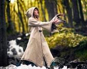 White Sorceress Waterbending Master Woolen Coat with big elven hood