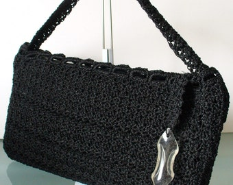 Vintage Black Crochet Evelope Style Clutch With Lucite Pull Detail