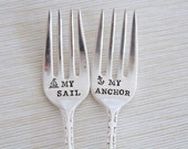 My Anchor and My Sail. Popular Wedding Cake Fork Set. Hand Stamped Cake Forks. Nautical Wedding. Anchors.