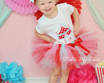 Under the Big Top Vintage Colors Circus Tent Carnival Themed Birthday Tutu Outfit-Red Pink Aqua Circus Carnival Outfit *Bow NOT Included*