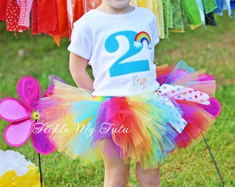Over the Rainbow Birthday Number Tutu Outfit-Rainbow Birthday Tutu Set-Rainbow Birthday Tutu Outfit *Bow NOT Included*