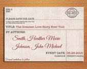 Library Card Catalog Vintage Wedding Save the Date PRINTABLE / DIY