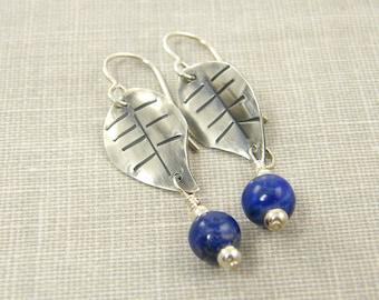 Blue Lapis Earrings, Silver Leaf Earrings, Sterling Silver Earrings, Navy Blue Earrings, Lapis Gemstone Blue Bead Dangle Metalwork Jewelry