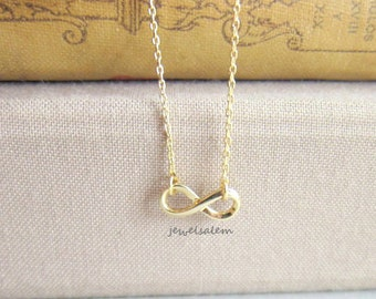 Gold Infinity Necklace Small Infinity Sign Pendant Charm Delicate Simple Everyday Casual Modern Jewelry Bridesmaids Friendship Gift C1