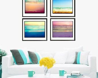 Ocean Sunset Photography Set, Ocean Photography Set, Abstract Ocean, Beach Wall Art Set Pastel Decor