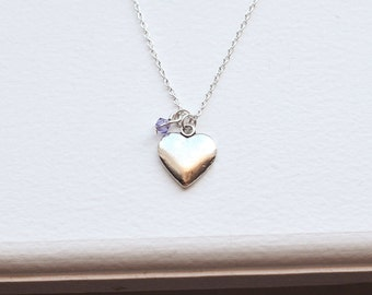 Silver Heart Necklace or Earrings - Gift Set- Modern Charm Jewelry and Birthstone Crystal- Heart Love Friendship - Wedding - Bridesmaids