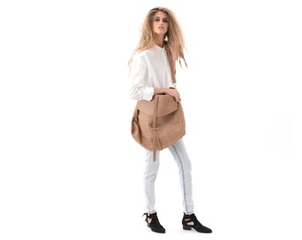Light Brown Large Shoulder Bag for Women, Leather Carryall for Everyday Use, Neutral Soft Leather Oversized Purse, Casual Hobo Urban Handbag