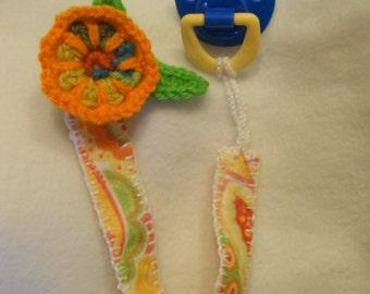 Orange Slice Flower Pacifier Clip, Crochet and Felt