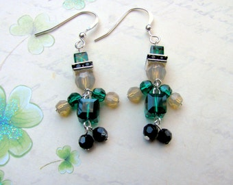 Leprechaun Earrings, Swarovski Earrings, Irish Earrings, St. Patrick's Day Earrings, Green Earrings, St. Patrick's Day Jewelry, Leprechaun,