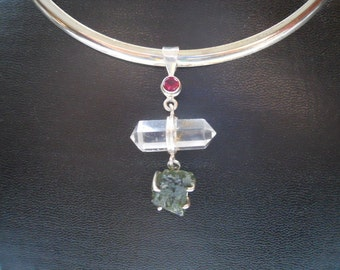 Sterling Silver Pendant with Moldavite, double terminated crystal and Garnet