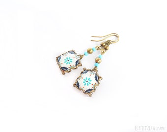 Scandinavian pattern tile earrings. Nordic flower blue/ocre . Pink and blue nordic flower.