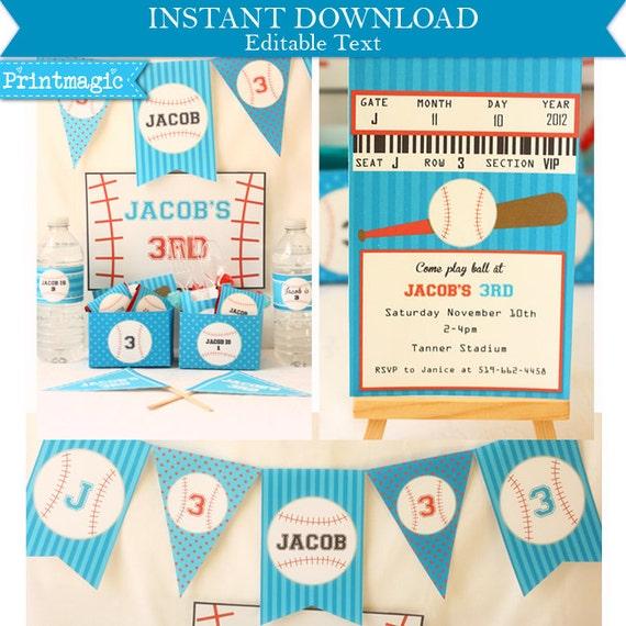 baseball birthday invitations amp decorations by printmagic