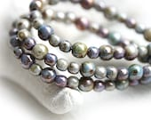 Grey Luster beads mix, Picasso czech glass small spacers, round, druk, Mother of Pearl shine - 4-3mm - approx.140Pc - 2662