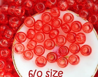 Czech Seed beads, size 6/0 - Orange Red - large Rocailles, glass beads - 10gr - 1408