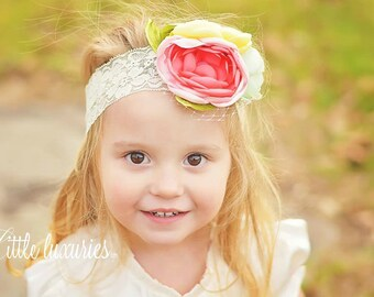 Fluer de Jardin - Mint, Cream, Coral, Pink, Yellow Satin Peony Flowers, Cream Lace Headband, Satin and Lace Headband