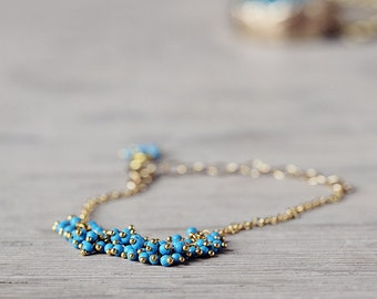 Turquoise and Gold Bracelet - December Birthstone Jewelry - Delicate Gemstone Cluster Bracelet