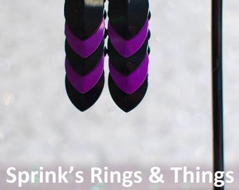 Purple and black scale maille earrings