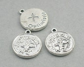 Horoscope Zodiac Sagittarius Charms November December Birthday Optimistic Antique Silver disc charms 4pcs base metal beads 17mm CM0652S