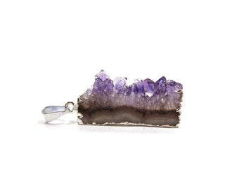 Amethyst Druzy Cluster Slice Raw Crystal Pendant Silver 1 Purple Natural Rough Stone For Jewelry Making (Lot B15) Necklace Supply