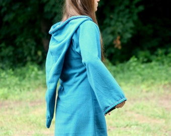 Legend of zelda inspired cosplay Turquoise Elven tunic - Medieval tunic - hyrule - Pixie hoodie - Halloween- festival tunic - pointy hood