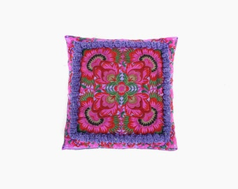 Pillow Case with Pom Poms HMONG Cushion Cover Hill Tribe Thailand Handmade  (CS010P-PUF9)