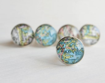 Vintage Map Cuff Links - Choose Your Own City Maps