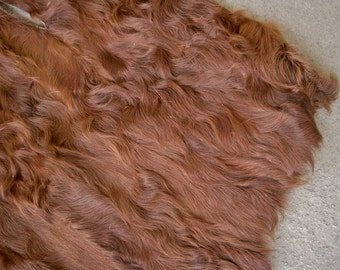 "Vintage Fur Brown Curly Lamb Fur Pieced Skins for Sewing Art Crafting Supplies Projects 17"" by 14"" Piece"