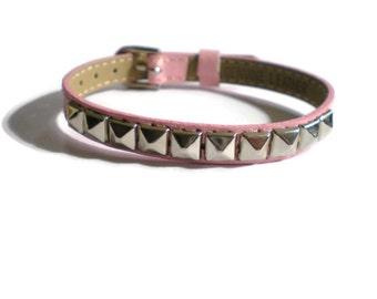Studded Leather Bracelet -  Pink Genuine Leather Studded With Silver Pyramid Studs - 8mm Pink Leather Strap -  AdjustableLayering bracelet