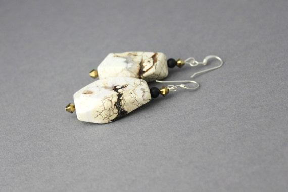 white stone earrings magnesite crystal and onyx dangle earrings bohemian minimalist earrings statement earrings wabi sabi