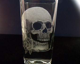 skull square shot glass glassware hand engraved gift ideas for him Halloween