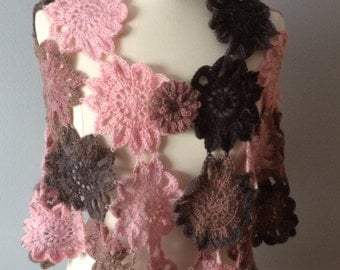Multicolor trapezoid  crochet flower shawl