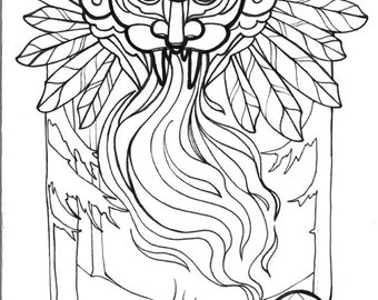 wendigo, north american myth, ravenous, cannibalism,  horror art, coloring book page