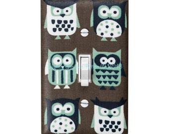 Owl Light Switch Plate Cover / Kids Room Nursery Decor / Auqa Brown White Owls / By Slightly Smitten Kitten Designs