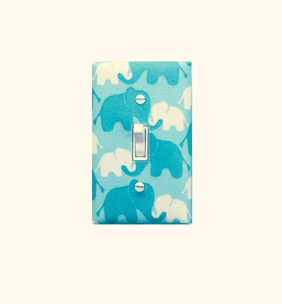 Aqua Elephant Light Switch Plate Cover Nursery Decor Girl