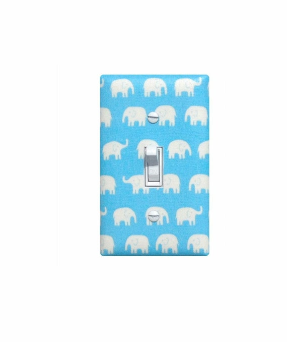 Blue Elephant Light Switch Plate Cover / Baby Boy SafariNursery Decor / Kids Room / Slightly Smitten Kitten