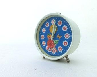Vintage Alarm Clock, White and Blue alarm clock, Table clock 70s, alarm clock Prim, Made in Europe clock, Home Decor, Unique clock