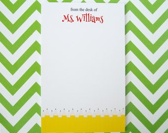 Personalized Notepad - Personalized Teacher Notepad - Personalized Pencil Notepad