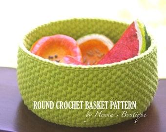 Crochet Basket Pattern - Round Crochet Basket - Size Small - PDF