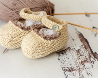 Cute Baby Gift - Hand Knit Baby Shoes - Clotted Cream/Mink - Luxury Merino Wool/Cashmere
