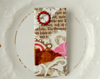 Collage Brooch Wearable Art Upcycled Mixed Media Brooch Antique German Text