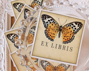 Butterfly Bookplate Stickers-Vintage Illustration -Acid Free